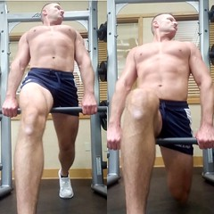 lunges (ddman_70) Tags: shirtless pecs abs muscle gym workout shortshorts lunges