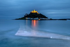 LIGHTS ON THE MOUNT (Tony Armstrong-Sly) Tags: mountsbay penzance cornwall marazion holiday coast sea castle longexposure lights reflections reflection nature