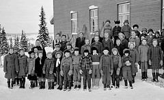 Class photo (theirhistory) Tags: boy child kid girl teacher school class form group pupils students jacket jumper trousers wellies hat coat snow skirt rubberboots