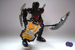 Toa Kraatek (Harding Co.) Tags: lego bionicle figure toa shadow darkness dark black red mask silver yellow kanohi ruru weapon staff scythe
