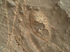 Not a Thark Egg on Mars 1, variant (sjrankin) Tags: 2november2018 edited nasa mars msl curiosity galecrater closeup dust sand vein lightcolored speckled rocks 2217mh0007630030803012e01dxxx