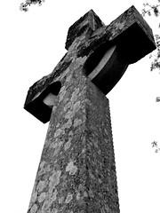 Churchyard Cross (eyesomepics) Tags: church churchyard grave graveyard monochrome blackwhite stone cross gravestone religious religion symbol christianity scotland scottish