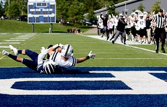 See guys, this is how to score a touchdown! (stephencharlesjames) Tags: college sports ball sport football gridiron touchdown celebration ncaa middlebury vermont bowdoin