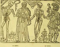 This image is taken from Page 18 of La grande danse macabre des hommes et des femmes : précédée du dict des trois mors et dfs [!] trois vifz, du Débat du corps et de l'ame, et de La complaincte de l'ame damp (Medical Heritage Library, Inc.) Tags: dance death wellcomelibrary ukmhl medicalheritagelibrary europeanlibraries date1862 idb24877402