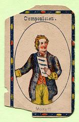 Einzelne Quartettspielkarte mit Mozart (altpapiersammler) Tags: alt old vintage karte spiel spielkarten spielen toy card mozart komponist kartenspiel quartett lithografie lithography pappe karton