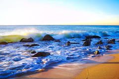 Golden waves (Fnikos) Tags: sea water mar mare ocean sun sunny wave wind seascape landscape beach shore seashore coast sand rock bay sky skyline outdoor