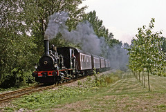 Ex SNCF 030 TB 134 makes a smokey pass while hauling a tourist special near Volgelsheim  during August 1994. (mikul44171) Tags: volgelsheim 030tb134 preserved exsncf smoke steam