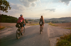 On the road, somewhere in Lower Silesia, Poland. (wojszyca) Tags: fuji tiara zoom dl 35mm compact agfa ultra 100 bikepacking cycling bicycle touring road friends landscape adventure
