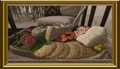 Visual Feast (Tim Deschanel) Tags: tim deschnael sl second life still nature morte saucisse gateau olive festin visuel sausage cheese cake cream meal tray