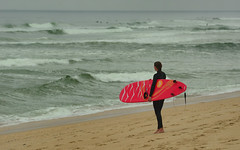 Red Surfer (hpaich) Tags: surf surfer surfing surfboard wave ocean water sandyhook nj jersey newjersey shore woman