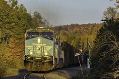 Last light at Demo Road (Thomas Coulombe) Tags: cmq centralmainequebec job1 geac4400cw ac4400cw freighttrain train fallcolors demoroad maine mooseheadsub