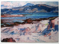 Ben More from Iona c.1925 (pefkosmad) Tags: jigsaw puzzle leisure pastime hobby complete used secondhand samueljohnpeploe benmorefromiona painting art fineart thehunterian universityofglasgow tin