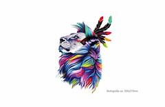 FESTIVAL PATCH LÖWE, Großer Print Bügelaufkleber (patchmonkeys) Tags: patch bügelbild blüten applikation aufbügler print druck festival blumen feder transfer löwe