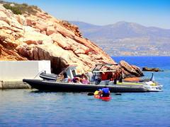 Beach House Resort. Water Sport's Fans (dimaruss34) Tags: newyork brooklyn dmitriyfomenko image sky greece antiparos beachhouseresort sea water cliff boats people paros kayak pier