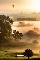 Morning mist- Bristol from Ashton Court (simarknewman) Tags: sunrise morning mist deer red ashton court canon 80d
