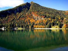 Dolomiti. Lago di Alleghe (ennios2000) Tags: vasser day long paisaje hill trail nature water blue autumn autunno dolomiti