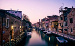 in the evening (khrawlings) Tags: venice italy water canal evening colour boats purple