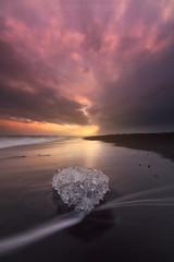 Minimalismo (el_farero) Tags: jokulsarlon iceland sunset beach landscape ice colours water clouds peace minimalism sun longexposure