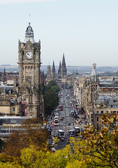Princes Street, Edinburgh (p.mathias) Tags: street busy cars people edinburgh history princes winter places city sky building clock tower old town united kingdom sony a5100 road tree