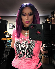 Gothic Chick in pink, selfie in the mirror (Juliapanther Over 56 million views, thanks!!!) Tags: julia panther juliapanther dress dressing short gloves velvet velour top pink marilyn nylon tgirl choker lips lipstick hair posing model glamour beauty portrait mirror reflection selfie