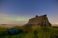 Harvest season night Dalemead (John Andersen (JPAndersen images)) Tags: steve alberta aurora bales barn car dalemead farm fence night prairie sky stars summer