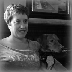 Clare with Ludo (quietpurplehaze07) Tags: clare daughter ludo rescue portrait bw mono