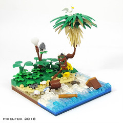 Koa-Mahaka is getting really concerned about the recent increase in littering on the beaches of his island. (Pixel Fox) Tags: lego diorama vignette island shipwreck minifig beach
