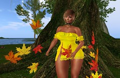 Goodbye Summer, hello Fall (Sultry ALLURE) Tags: chantelsatine chantel catwa choker queenz leaves promagic yellow dress blog blogger satine sultryallure secondlife avatar sl maitreya lwposes alantori hair