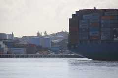 Hazy day in the harbour (Paul Threlfall) Tags: ship dock harbour fremantle wa westernaustralia perth hazy containership molgrowth