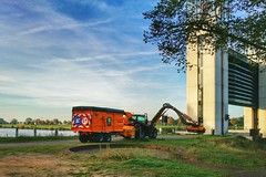 Mowing (Rene v/d Boom) Tags: canal tractor maaswaal malden sluisheumen gras sky morning lock mowing