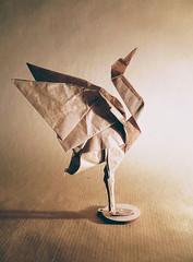 Standing crane by Jun Maekawa (Danielle Verbeeten) Tags: origami folding papioflexia crane standing jun maekawa kraft paper papiervouwen kraanvogel