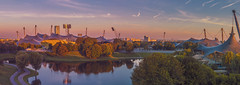 Dawn - Panorama (suzanne~) Tags: pano panorama munich germany olympiapark morning dawn lake stadium
