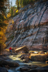 Shannon at Shell Creek (Tony Hochstetler) Tags: nikon d850 nikon2870mmf28 breakthroughphotographyfilter magneticcircularpolarizer longexposure 6stopneutraldensity le shellcreek wyoming river fall cliff rocks vertical