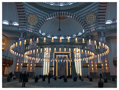 In the mosque [1448] (my.travels) Tags: mosque millet beştepe turkey ankara islam architecture muslim religion interior iphone lights light