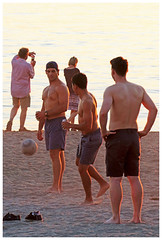 Beach, Beer, and a Ball (HereInVancouver) Tags: candid youngmen beach beer ball games water ocean englishbay vancouverswestend thingstodobythewater vancouver bc canada summer city outdoors people canong3x