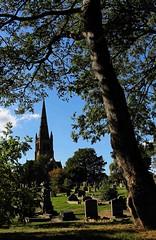 Framed (Malc '64') Tags: framed canon yorkshire ossett clock churchtower graves colour trees cemetery trinitychurch