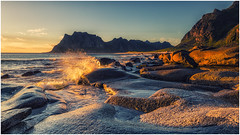 Evening at uttakleiv (bjorns_photography) Tags: landscape nature midnight sun sunlight water ocean view photography rock mountain norway