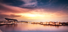 Panoramic Port Forum Barcelona (Lluvia Fotografia) Tags: port forum barcelona longexposure dawn sunset ndfilter sky seascape landscape cataonia water sunshine warm