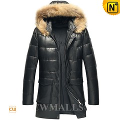 Men Down Jacket | CWMALLS® Denver Fur Trim Hooded Leather Down Coat CW807206 [Custom Made] (cwmalls2018) Tags: leather down jacket men coat black winterwear fashion custommade parka christmas