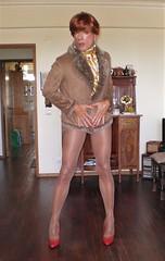 Karen (Karen Maris) Tags: pumps tg tgirl tgurl karen legs tranny trannie pantyhose tights sheer transsexual transvestite transgender redhead heels crossdress crossdresser
