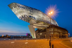 Port house (D Boel & fam.) Tags: antwerpen havenhuis antwerp zaha hadid architects port house authority belgium modern architecture sunset evening dusk twilight blue hour