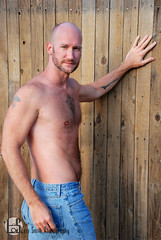 Keith (Levi Smith Photography) Tags: jeans guy standing fence shirtless arms chest hairy hands beard brunette bald pose confident portrait sexy hot man men mens mans fashion