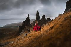 Skye High (Elizabeth Gadd) Tags: isle skye storr old man scotland highlands mountains girl red dress autumn landscape nature portrait rocks