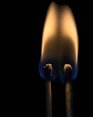 """""""Perfect match"""" theme (Jack Blackstone) Tags: 2018 em1markii macro wood matchsticks complementarycolors blue orange yellow blackbackground color structure lighting texture contrast minimal copyright pair match matches matched fire flame perfectmatch macromondays similar alike copy twins identical"""