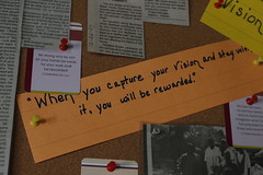 "A motivational quote Hillman has pinned onto a ""mood board"" bulletin board inside a room of the Dr. Calvin M. Baber Historical Home."