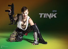 Sucker Punched 4 -Tink (2) (FightGuy Photography) Tags: suckerpunched sp4 suckerpunched4 weapon warriorwoman badass cosplay fightguyphotography woman crouch kneel shoes brunette smg boots armor mohawk bratop camopants pants camo