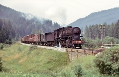 South Tyrol FS     1974 (keithwilde152) Tags: fs gr741 741388 fortezza sancandido south tyrol italy 1974 railway mountains landscape countryside freight train steam locomotives outdoor summer sun