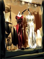"Dress Shop Window by Night (""Jimmer"" ( http://jim-vance.pixels.com )) Tags: shopwindow fashion night city display retail window"