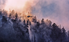 Helipad (bjorns_photography) Tags: helipad nature fire forest view tree mountain water smoke yellow blue photography