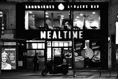 Nightlife (stephaneblaisphoto) Tags: architecture building exterior built structure city glass material group people illuminated incidental land vehicle men mode transportation night outdoors real street transparent window women bw blackandwhite monochrome restaurant neon neons nightlife food diner